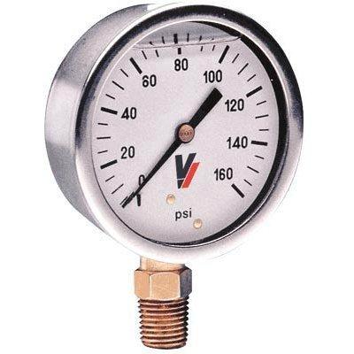 Valley Instrument Grade A 4in. Stem Mount Glycerin Filled Gauge - 0-160 PSI ()