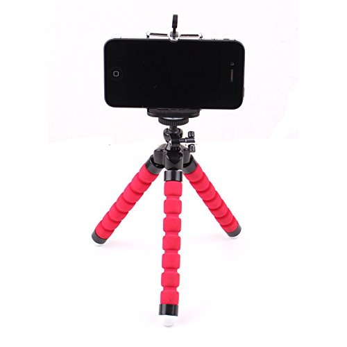 Mini Flexible Sponge Octopus Stand Tripod Mount For iPhone Samsung Camera Video Phone (Red ) (Mini Camera For Phone)