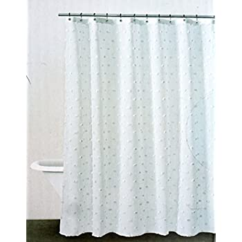Amazon.com: DKNY Fabric Shower Curtain Retro Look Solid White with ...