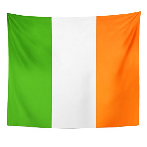 Emvency Tapestry Republic Flag of Ireland Country Emblem Geographical Irish Liberty Home Decor Wall Hanging for Living Room Bedroom Dorm 50x60 Inches ()