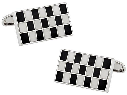 Rectangular Box Enamel (Cuff-Daddy Versatile Enamel Black & White Rectangular Cufflinks with Presentation Box)