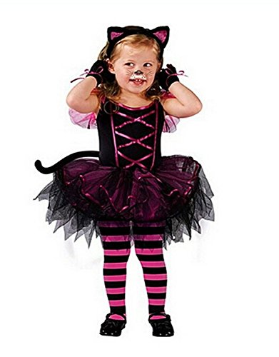 Little Girls' Halloween Clothing Mesh Bubble Dress + Headband - Catwomen Outfits