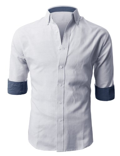 3/4 button down shirt mens