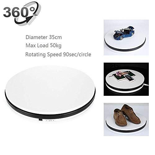 Rotating Display Turntable,Yuanj 3D Photo Display Rotating Turntable 360 Degree Cake Photography Stand Base,110pounds load,Clockwise and anticlockwise-White