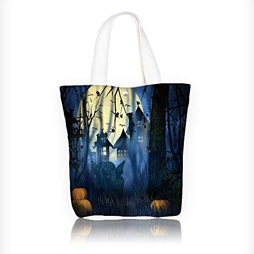 Canvas Tote Bags Scary Night Halloween Backdrop Design Your Own Party Favor Pack Tote Canvas Bags by Big Mo's Toys W11xH11xD3 -