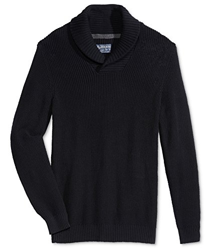 American Rag Mens Small Shawl Collar Ribbed Sweater Black S