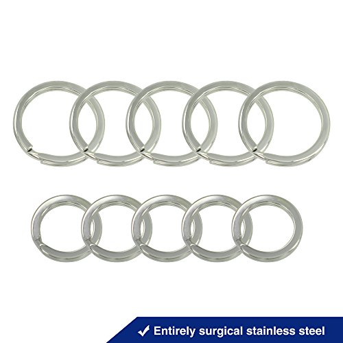 (Divoti Surgical Grade Stainless Steel Key Chain, Key Holder, Key Ring Split Ring Set for Keys and Accessories (5 Large & 5 Small))