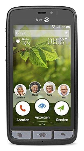 Doro 8031 4G Smartphone (11,4 cm (4,5 Zoll), LTE, 5 MP Kamera, Android 5.1) schwarz/stahl