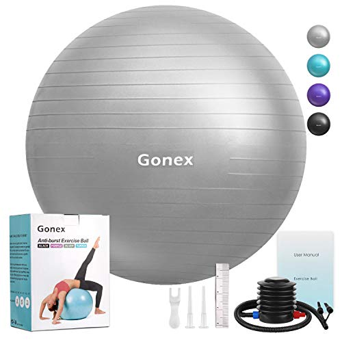 Gonex Exercise Workout Ball, 55cm 65cm 75cm Anti-Burst & Non-Slip Stability Balance Ball for Birthing, Yoga, Pilates, Desk Chairs, Fitness, Quick Pump & Workout Guide Included, Silver