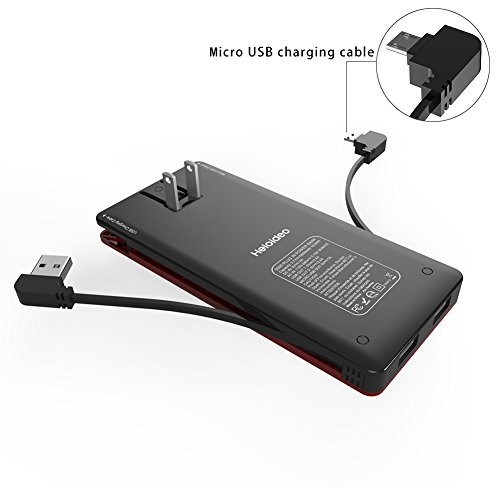 Heloideo 5000mAh Slim Power Bank with AC Adapter, Dual USB 5V/2.4A Output Portable charger, Built-in Micro USB Cable for Galaxy S7,LG G4,BLU Phone and other Micro USB Input Devices (Black and red)