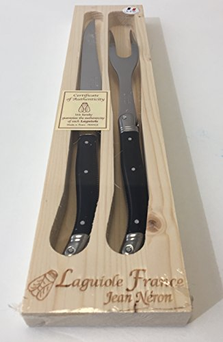 Neron Coutellerie 2 Piece Laguiole Carving Set With Black Plated Handle In Wooden Box, Silver ()