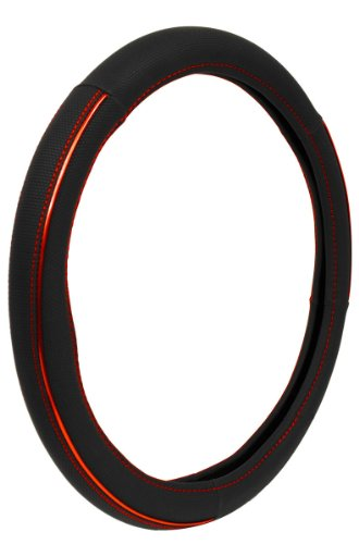 Custom Accessories 39781P Black with Red Sport Anodized Accent Steering Wheel Cover