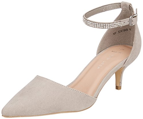 New Look Women's Wide Foot Snuck Ankle Strap Heels Grey (Mid Grey 4) 2ImjXry