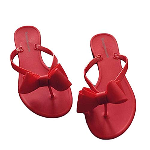 Women Stud Bow Flip-Flops Sandals Beach Flat Rivets Rain Jelly Shoes Red]()