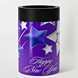 Society6 Stainless Steel Can Cooler, Size 12oz, Blue and Purple Happy New Year Shooting Stars by taiche