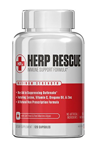 HERP RESCUE #1 Best formula to clear skin FAST of Herpes, Cold Sores, and Shingles.- Full 30 Day Supply l Lysine, Zinc, Vitamin C, Oregano Oil, 120 Capsules (Best Antiviral Supplements For Herpes)