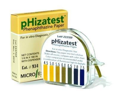 934 - Description : pH Paper - pHIZATEST Nitrazine Indicator Paper, Micro Essential Laboratory - Roll of 1 ()