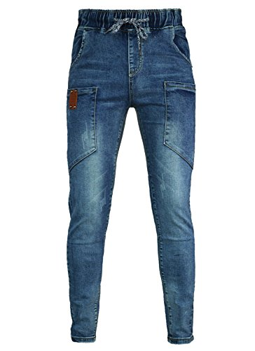 Women's Light Washed Harem Loose Ripped Jeans (Blue) - 7