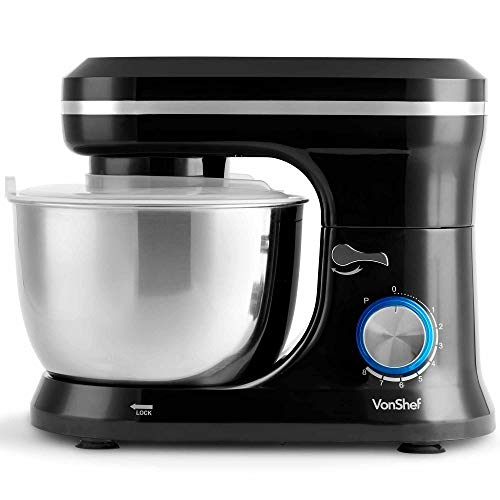 VonShef 800W Black Food Stand Mixer - 5.5 Litre Mixing Bowl with Splash...
