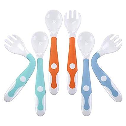 ... gris grabease Juego de cuchara y tenedor para beb/és y ni/ños peque/ños