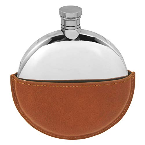 (English Pewter Company 6oz Ellipse Pewter Liquor Hip Flask With Leather Pouch)