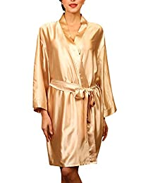 Dolamen Women's Men's Dressing Kimono Gown Satin Bathrobe Nightwear
