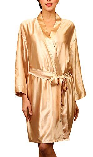 Dolamen Unisex Mujer Hombre Vestido Kimono Satén, Camisón para mujer, Lujoso Robe Albornoz Dama de honor Ropa de dormir Pijama, Busto 132 cm, 51,97inch, de gran tamaño para todos Oro