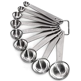 DmofwHi Stainless Steel Measuring Spoons (Set of 9) for Cooking and Baking - Silver