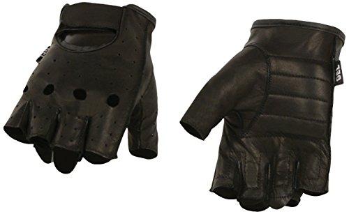 Milwaukee Leather Men's Premium Leather Full Piece Fingerless Gloves with Gel Padding (Black, Medium) ()