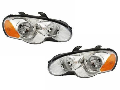 HEADLIGHTSDEPOT Compatible with 03-05 Chrysler Sebring Coupe Headlights Headlamps Pair Set Halogen New