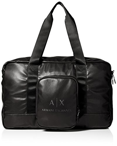 Armani Exchange Men's Logo Duffle Bag Accessory, -black/gun metal, - Armani Bag Men