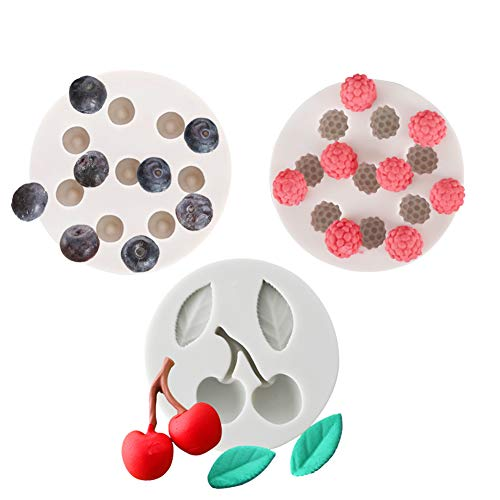 KALAIEN 3pack Blueberry Raspberry Icecube Silicone Mold Cupcakes Topper Decorating Making ()