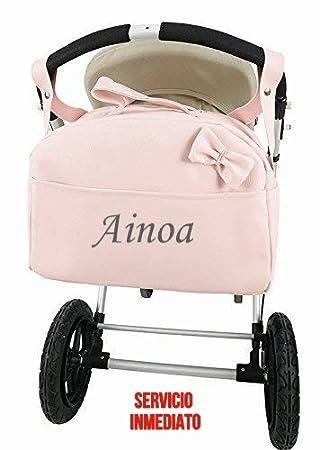Bolso Carrito Bebe Polipiel Personalizado con nombre bordado + Regalo de un babero -Danielstore: Amazon.es: Bebé