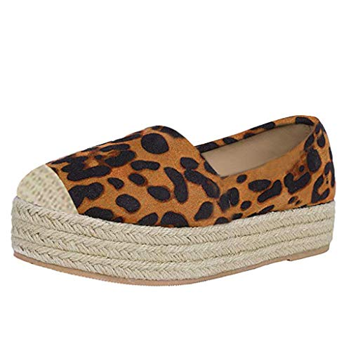 JJHAEVDY Women's Leopard Flatform Espadrilles Loafers Slip On Fashion Walking Flats Comfort Round Toe Low Top Sneaker