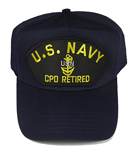 U S NAVY CPO RETIRED with CHIEF ANCHOR HAT - Navy Blue - Veteran Owned Business