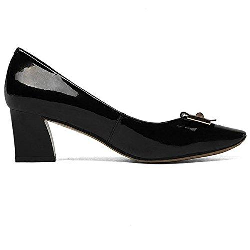Simples Tête Chaussures Chaussures Talon Carrée Rugueux Talon Boucle Black Métal Cuir Femme Moyen Carrée Paresseuses pxxFd