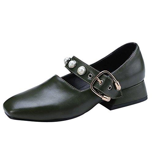 escarpins à mode foncé et vert chaussures élégante carré talon perlée la Carolbar talon à moyen à wSEOdwZxq