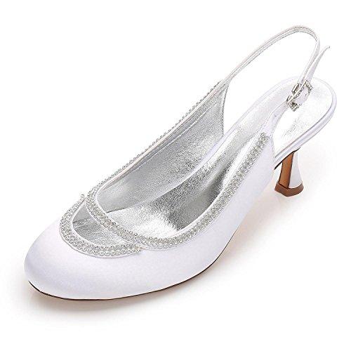 L@YC Frauen, Die F17061-29 Geschlossene Zehe-klumpige Rhinestone-Pumpen-Satin-Abend-/Hochzeitsschuhe Gewohnheit Kräuseln White