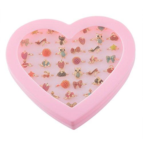 MJARTORIA Bagues Ensemble Anneau Ring Forme Coeur Papillon Fleur Animal Mignon Strass Email Reglable pour Fille Enfant Lot de 36pcs XHA0AA4P6AX