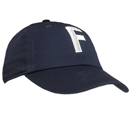 Tiny Expressions Toddler Boys' and Girls' Navy Embroidered Initial Baseball Hat Monogrammed Cap (F, 2-6yrs)