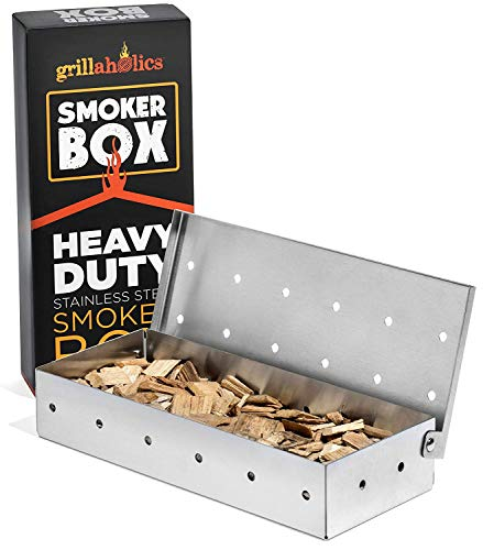 Grillaholics Smoker Box, Top Meat Smokers Box in Barbecue Grilling Accessories, Add Smokey BBQ Flavor on Gas Grill or Charcoal Grills with This Stainless Steel Wood Chip Smoker Box