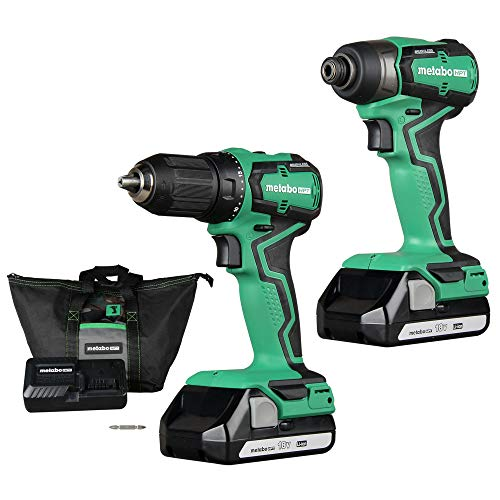 Metabo HPT Cordless 18V Drill and Impact Driver Combo Kit, Sub-Compact, Brushless Motor, Lithium-Ion Batteries, Lifetime Tool Warranty (KC18DDX)