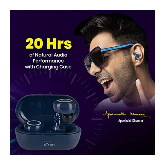 pTron Bassbuds in-Ear True Wireless Bluetooth 5.0 Headphones with Hi-Fi Deep Bass, 20Hrs Playtime with Case, Ergonomic Sweatproof Earbuds, Noise Isolation, Voice Assistance & Built-in Mic - (Blue)