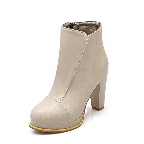 Amoonyfashion Mujeres Blend Materials Round Closed Toe Tacones Chunky Botas Sólidas Beige