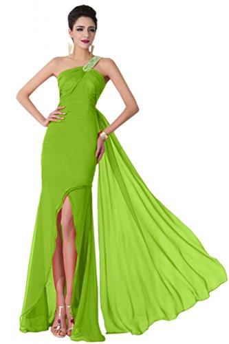 sunvary un hombro vaina de alta baja gasa vestidos de noche Pageant para 2015 lime green