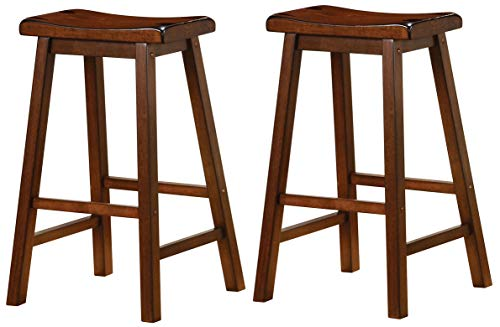 "Wooden 29"" Bar Stools Chestnut (Set of 2)"