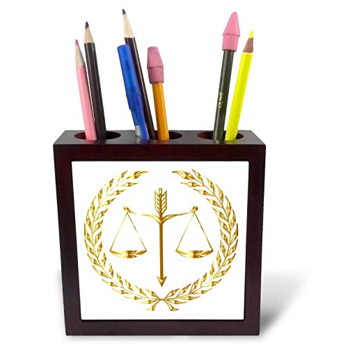 3dRose Lens Art by Florene - Everything Gold - Image of Scales of Justice in Shiny Gold - 5 inch Tile Pen Holder (ph_291051_1)