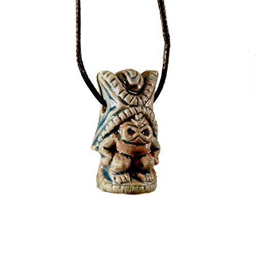 (Ceramic Raku Necklace of Kane - Hawaiian Tiki God of Light and Life)