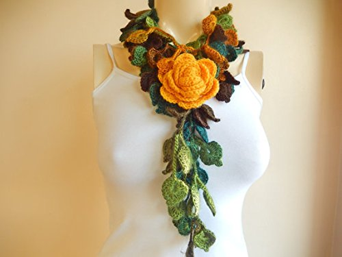 Autumn Crochet Scarf-leaves Necklace Scarf-multicolor Lariat Scarf-necklace Lariat Scarf-shades of Green Scarf-vegan Scarf