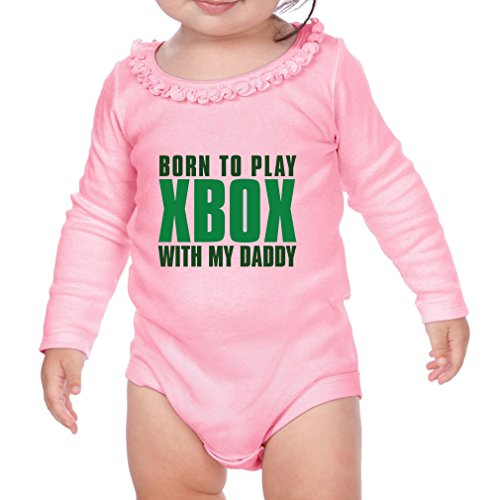 Price comparison product image Born To Play Xbox With My Daddy Sunflower Ruffle Long Sleeve Bodysuit Soft Pink 12 Months